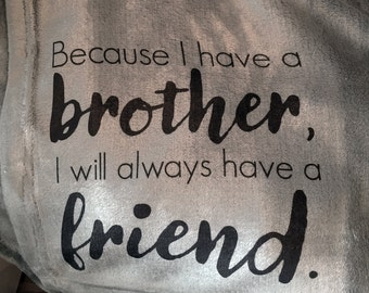 A personalized throw blanket for your brother!  A very unique gift for your brother, always a friend!
