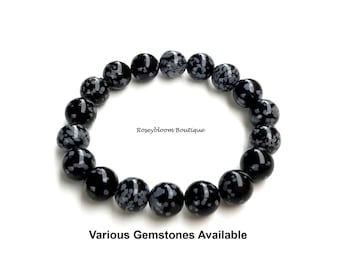 Snowflake Obsidian Bracelet-10mm Genuine Snowflake Obsidian-Men Black Bracelet-Genuine Obsidian Bracelet-Natural Snowflake Obsidian