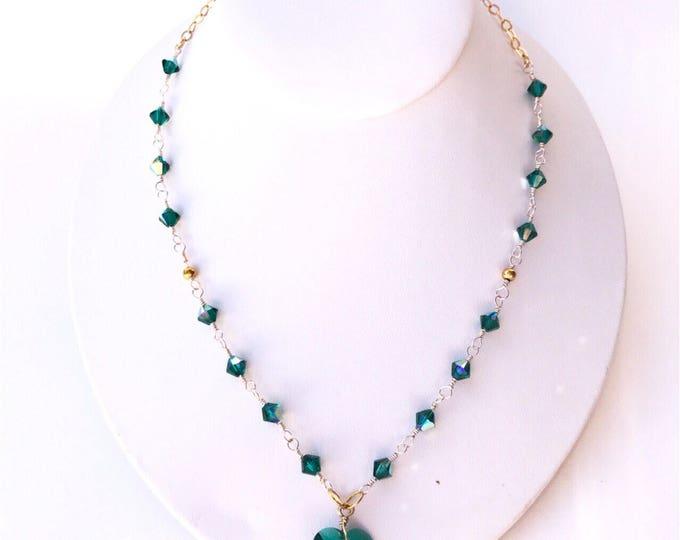 Green Swarovski necklace, Dark green jewelry, green necklace, crystal necklace, crystal jewelry, Swarovski necklace, Swarovski jewelry