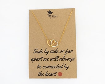 Gold Heart Necklace // Long distance Gift • Mothers Day Gift • Gold Heart Jewellery • Gift for Sister • Dainty • Gift for Her