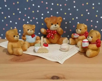 Vintage 7 Piece Lucy and Me Teddy Bear Picnic Enesco Figurines