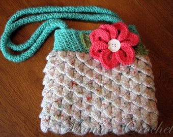 Ready to Ship Hand Crocheted Mermaid Tears Lined Purse | Crocodile Stitch Purse | Crochet Handbag | Gift for Ladies - Turquoise and White
