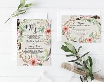 Rustic Boho Invites - Invitation Suite, Romantic Wedding Template - Bohemian Invitations with Response Card Boho Wedding Invite Set -Sophia