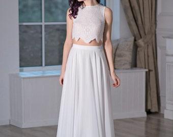 Iris - bohemian wedding dress / boho bridal gown / beach wedding dress / crop top bridal gown / simple wedding dress / casual wedding dress