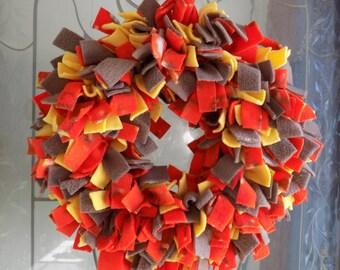 Autumn Fleece Rag Wreath