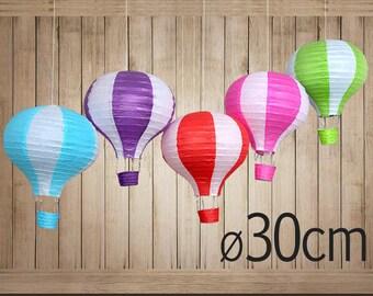 10 (30cm) Striped Hot Air Balloon Paper Lanterns - Hanging Deco - DIY Wedding, Birthday, Party, Baby Shower, Nursery Decoration