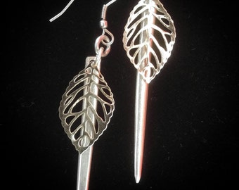 Silver leaf fork tine earrings made from up-cycled vintage silver plate silverware. Free shipping within Canada.