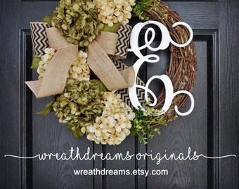 BEST SELLER! Sage Green & Cream Hydrangea Wreath. Year Round Wreath. Spring Wreath. Summer Wreath. Monogram Wreath. Door Wreath
