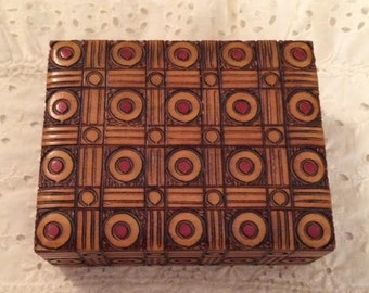 1970's Art Carved Wood Box