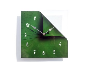 Wall Clock, Rustic Home Decor, Glass Wall Art, Bedroom Wall Clock, Green Decor, Vegan Art, Eco Friendly Decor, Square Wall Clock