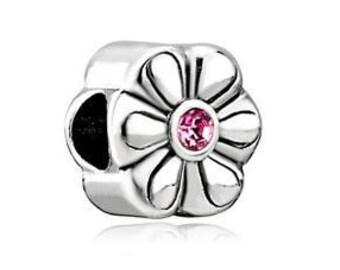 Pink Flower Bead, Flower Charm, Large Hole Bead, European Bead, Charm Bead, Charm Bracelet, European Charm, Big Hole Bead