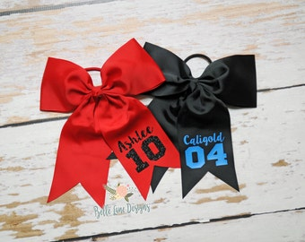 Sports Bow with Attached Pony with Name and Number, Choose Your Colors | Personalized Hair Bow | Team Bow | Sports Bow | Softball Bow | 014
