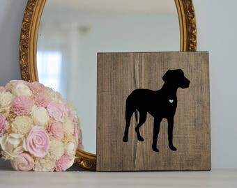 Hand Painted Great Dane Silhouette on Stained Wood, Dog Decor, Dog Painting, Gift for Dog People, New Puppy Gift, Great Dane, Great Dane Art