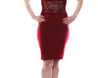 Burgundy Bodycon Tango Dress with Lace | Elegant Tango Dress | Milonga Dress | Argentine Tango Dress