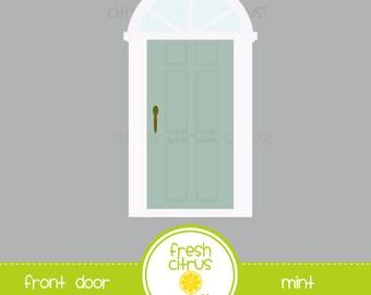 Front Door Clip Art Mint Door with Transom Window