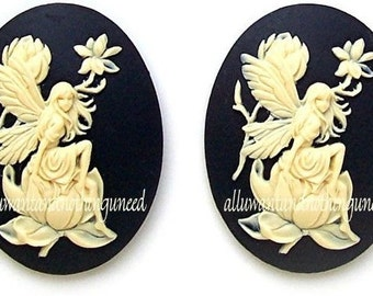2 Fairy and Magnolia Ivory Color on Black 40mm x 30mm Resin CAMEOS LOT for Making Costume Jewelry