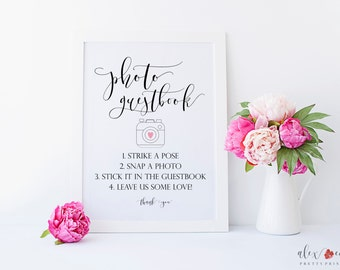 Photo Guest Book Sign. Instant Photo Guest Book Sign. Photobooth Sign. Photo Booth Sign Printable. Wedding Photo Booth Sign. Wedding Signs.