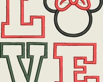 Mrs miss Mouse Body Ear facebody Valentine Arrow LOVE words Applique Design Instant DIGITAL DOWNLOAD 4x4 5x7 6x10