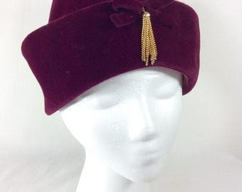 Womens Burgundy Velour Turban Cloche with Bow and Gold Chain Tassel