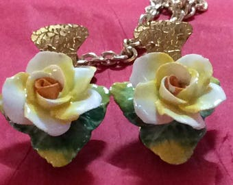 Vintage Sweater Clip Yellow Roses