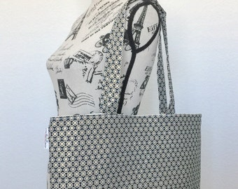 Black Foral Lattice Linen And Canvas Tote Bag, Beach Bag, Work Tote, School Bag, Book Bag, Travel Tote Bag