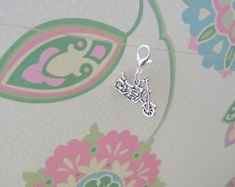 Silver Double Sided Motorcycle Clip On Bracelet Charm/Purse Charm/Zipper Pull Charm - Ready to Ship