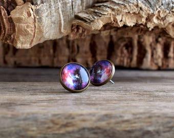 Universe earrings, Purple stud earrings, Post earrings, Universe earrings, Space earrings, Pink purple earrings, Pink galaxy jewelry UJ 053