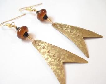 Hammered Bronze Geometric Earrings Modern Metalwork Red Black Beads Earrings Antique Faced Unique Earrings