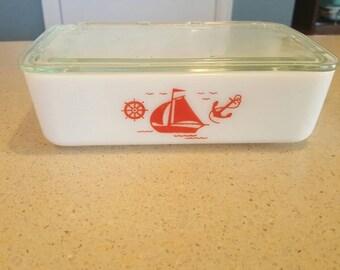 Vintage McKee Sailboat Large Refrigerator Dish