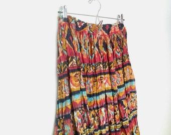 Indian Gauze Skirt Rainbow - Blue Orange Gold Black Geometric - Made in India