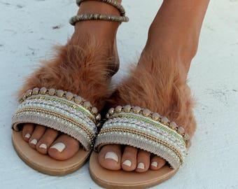 "Handmade leather sandals, Slip on sandals, Greek leather sandals, Slides sandals, Feathers, ""Hera"""
