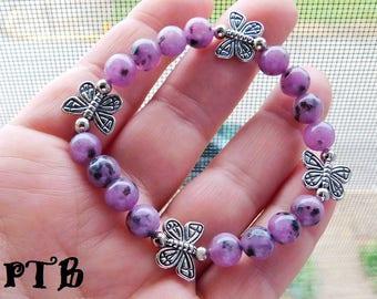 "Shamanic Transformative Journey ~ Authentic Natural Purple Kiwi Jasper Gemstone Butterfly stretch Bracelet 7 1/2"""