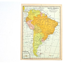 1936 - South America Map - Beautiful Old Map of South America - Small Vintage Map - Colorful Atlas Map - Gift - Home Decor