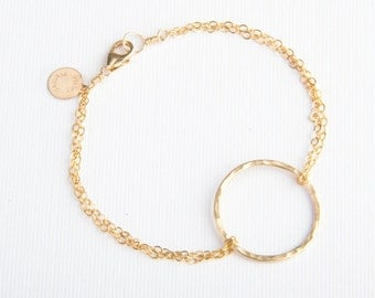 Large Circle Bracelet, Hand Shaped, Handmade, Gold Filled or Sterling Silver