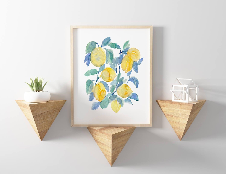 Lemons Watercolor Print Abstract Lemon Print Lemon Watercolor Kitchen Art Kitchen Decor Yellow Yellow Fruit Art Kitchen Fruit Decor Art
