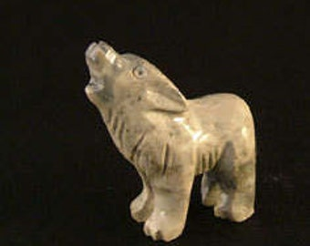 Hand-Carved Soapstone Wolf Fetish/Totem/Spirit Animal