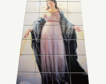 Our Lady of the Miracle, religious tile mural, religious wall art, christian wall art, Virgin Mary wall art, Blessed Virgin Mary art
