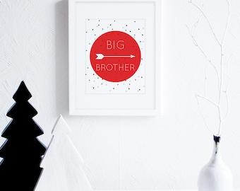 Big Brother Art Printables, Arrows Art Print, Black and Red Little Boys Room Decor, Monochrome Nursery Wall Art, Modern Nursery Decor
