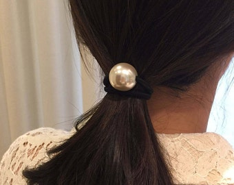 Large White Pearl Hair Tie (Set of 2)