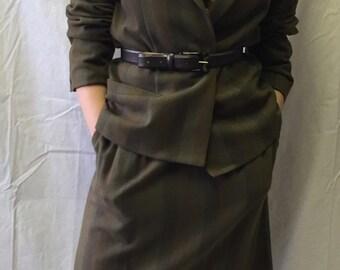 Vintage Olive Breckenridge Skirt Suit