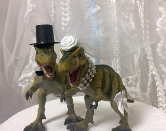 Wedding Cake Topper, Dinosaur, T-Rex, Cake Topper, Dinosaur Bride & Groom, Dinosaur Wedding, Wedding, Dinosaur Theme, Animal Cake Topper