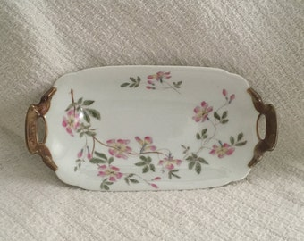D & Co Limoges Hand Painted Oval Dish with Gold Trimmed Handles, Celery Dish, Trinket Dish, Boudoir Vanity Tray, Pink Floral Oval Plate