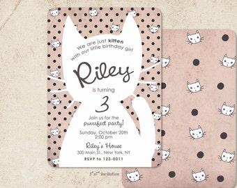Cat Invitation /// Birthday Just Kitten /// Polka Dot Party Invitations
