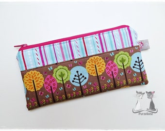 Pen pencil-case - case - trees - Brown pink turquoise