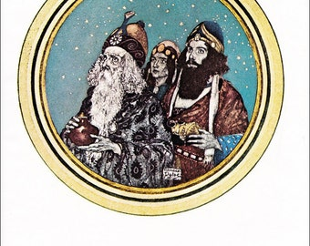 Three Wise Men Christmas vintage fine art print illustration Kings by Edmund Dulac  8.5x11.5 inches