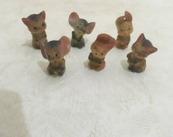 6 Vintage animal figurines