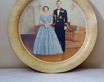 Vintage Queen Elizabeth II and Prince Philip Metal Handiware Tray by Baron ~ Made in England ~ 1953
