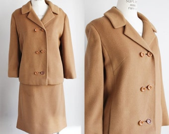 Vintage 1960s Camel Mohair Suit / 60s 2 Piece Suit / I. Magnin / Mod Suit / Boxy Jacket / Skirt And Jacket