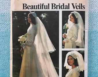 1970s Butterick 3753 Sewing Pattern Ladies Bridal Veils Wedding Juliet Cap Renaissance Bride