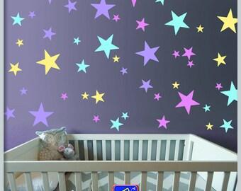 Stars Wall Decals   Set Of 108 Stars Vinyl Stickers   Nursery Stars Pattern    Playroom Part 84
